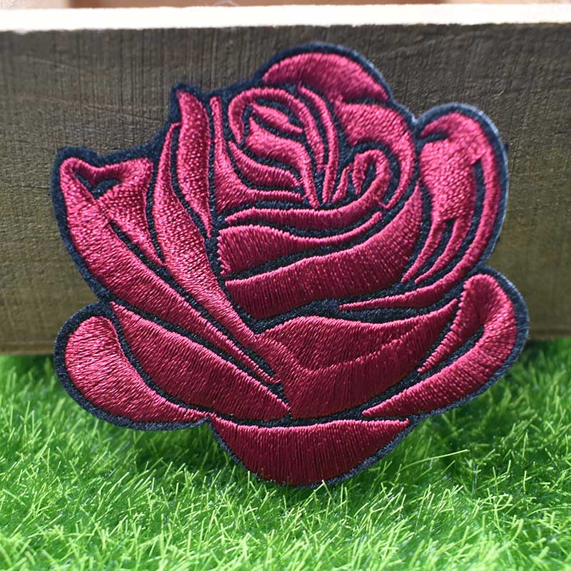 """1.5/"""" Red 5 Petal Flower Pot Embroidery Patch"""