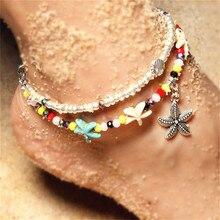 Starfish Pendant Anklets 2019 For Women New Stone Beads Shell Anklet Bohemian Bracelets On Leg BOHO Ocean Jewelry