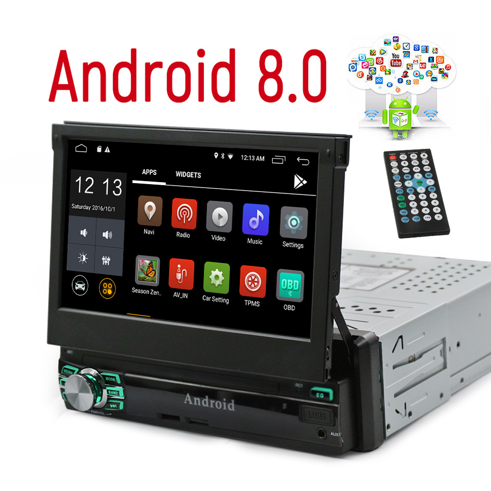 DHL/EMS 1Din Android 8.1 Car Radio Stereo GPS AutoRadio RAM 2G Quad Core Universal 7 HD Touch Screen BT WIFI Mirror Link Player