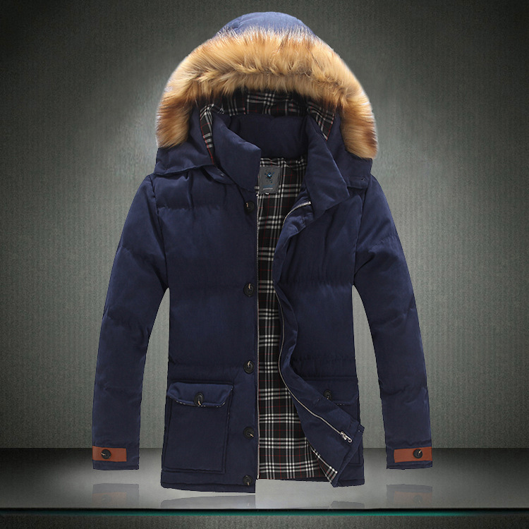 With Raccoon Fur Hood Men Khaki Blue Yellow Thick Cheap Winter ...