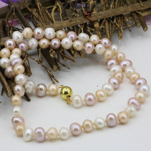 52d41c87cc02 Precio al por mayor perla natural collar 7-8mm agua dulce perlas multicolor  cadena mujeres