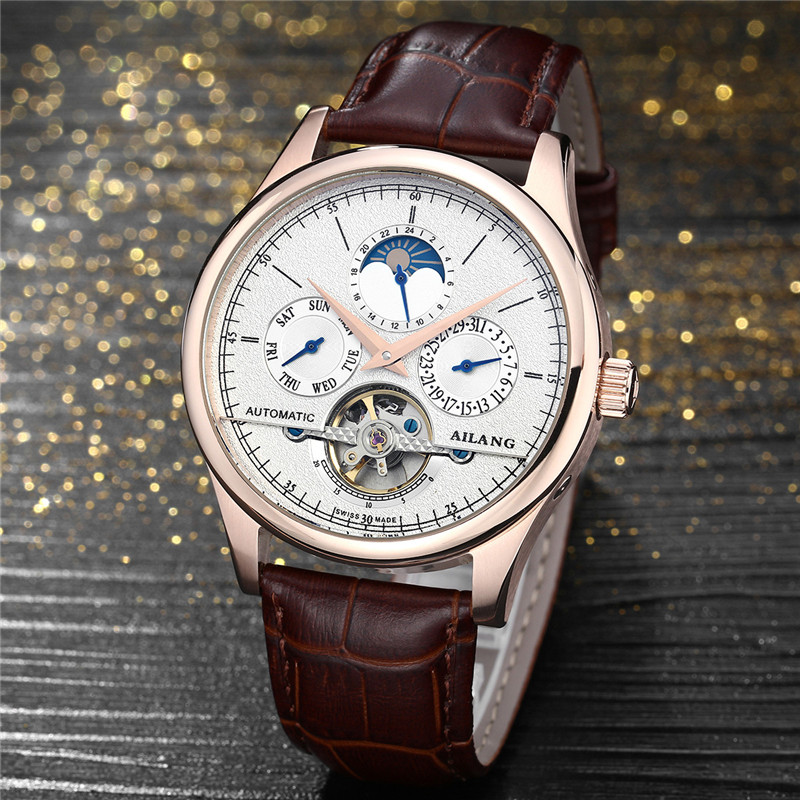 New Men's Automatic Mechanical Watches Multifunction Business Hollow Tourbillon Men Watch Leather Wristwatches Relogio Masculino brand fashion diamond business men s table automatic steel mechanical watch hollow wristwatches relogio masculino