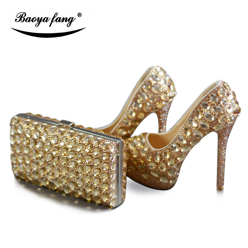 все цены на Champagne crystal women Wedding shoes with matching bags Luxury Rhinestone high heels platform shoes women party dress shoes