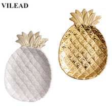 цена на VILEAD 7.8'' Ceramic Gold White Pineapple Jewelry Plate Figurines Fruit Pineapple Jewelry Tray Home Decoration Creative Gifts
