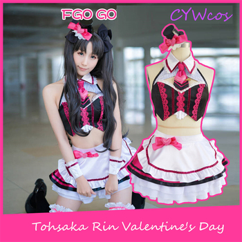 FGO Fate/stay night Tohsaka Rin Valentine's Day Cosplay Costume Party Dress Christmas Costumes Top+Skirt+Socks+Headdress