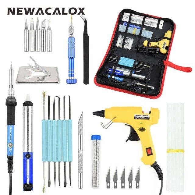 NEWACALOX EU/US Plug 60 Вт Регулируемый Температура Электрический паяльник Комплект 20 Вт клеевой пистолет Портативный сварка ремонт набор инструментов