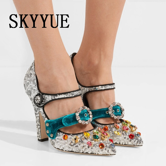 2018 New Mary Janes Crystal Jewel Beading Women Summer Pumps Sexy Pointed Toe Glitter Buckle Strap Women HIgh Heels Shoes Women pointed shallow mouth hollow buckle high heels women s shoes 2018 new gradient glitter crystal shoes women s shoes