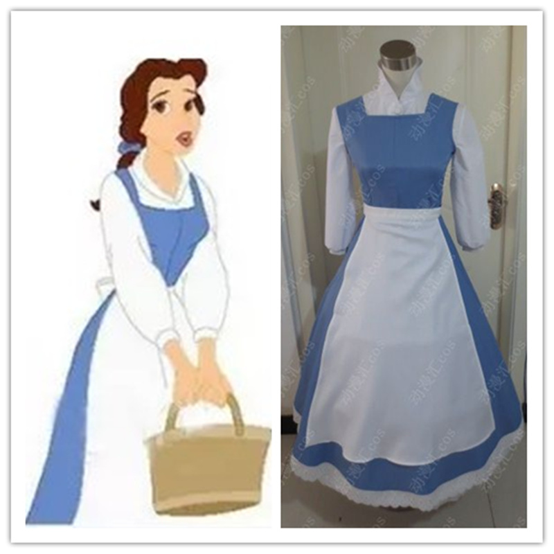 Beauty and The Beast Princess Belle Blue Maid Dress Coplay