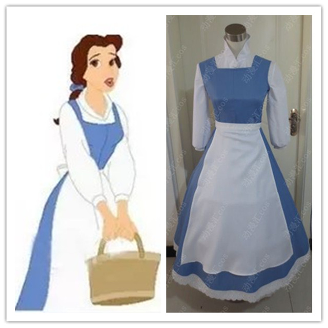 Beauty and The Beast Princess Belle Blue Maid Dress Coplay Costume Halloween Dress for Adult Superstar & Beauty and The Beast Princess Belle Blue Maid Dress Coplay Costume ...