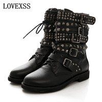 Rivet Ankle Boots 2016 Latest Woman Gothic Shoes Fashion Low Heeled Punk Shoes Handsome Black Rivet