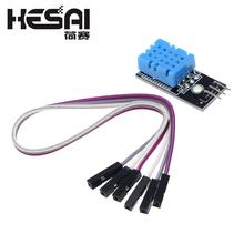 Nowy czujnik temperatury i wilgotności względnej DHT11 moduł z kabel do arduino zestaw do samodzielnego montażu tanie tanio HESAI Mieszanina Czujnik wilgotności Analogowy czujnik
