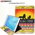 Для Планшетных Samsung Galaxy Tab A 9.7 T555 T550 sm-t555 PU Leature Симпатичные Pattern Стенд Держатель Кошелек Карманный Защиты Shell