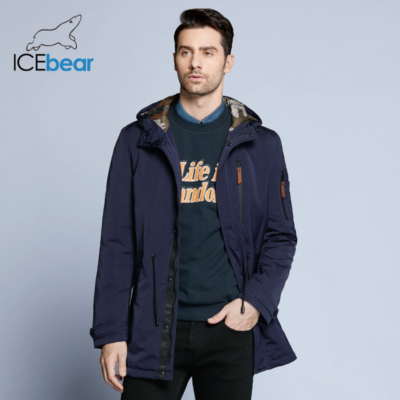 ICEbear 2019 Trench Coat For Men Adjustable Waist Hat Detachable Spring Casual