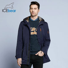 ICEbear 2019 Trench Coat For Men Adjustable Waist Hat Detachable Autumn Men New Casual Medium Long Brand Coats 17MC017D(China)