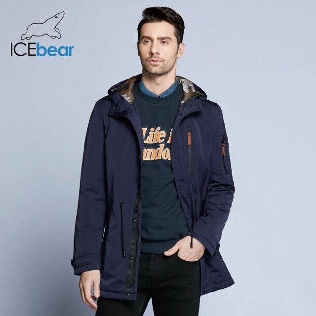 ICEbear 2019 トレンチコート男性調節可能なウエスト帽子着脱式春メンズ新カジュアルミディアムロングブランドコート 17MC017D