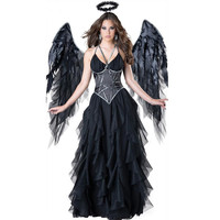 Sexy Devil Fallen Angel Costumes, classic Halloween party fancy dress black wings and black halo cosplay