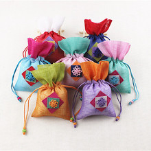 10x15cm Drawstring Gifts Bags Korean Version Multicolor Stitching Perfume Jewelry Pouches Chinese Knot Style Bag Pouch 30pcs/lot