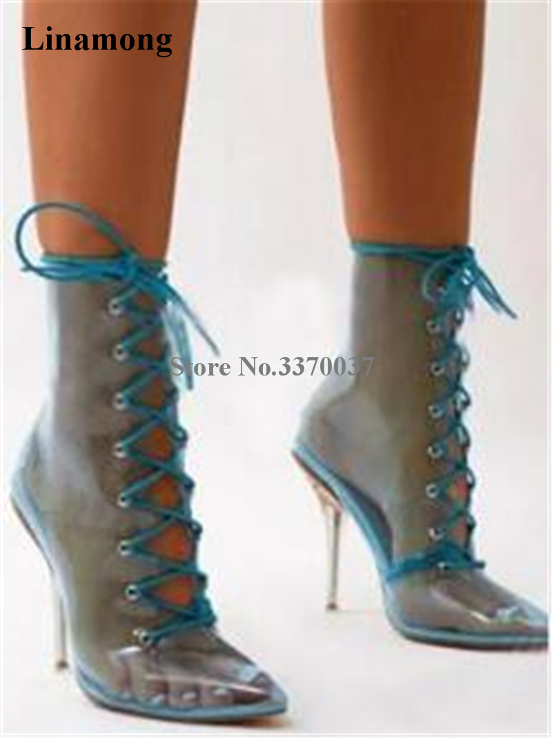 все цены на Brand Fashion Women Pointed Toe PVC Lace-up Thin Heel Short Boots Blue Yellow Orange Candy Transparent Ankle Booties Dress Shoes онлайн