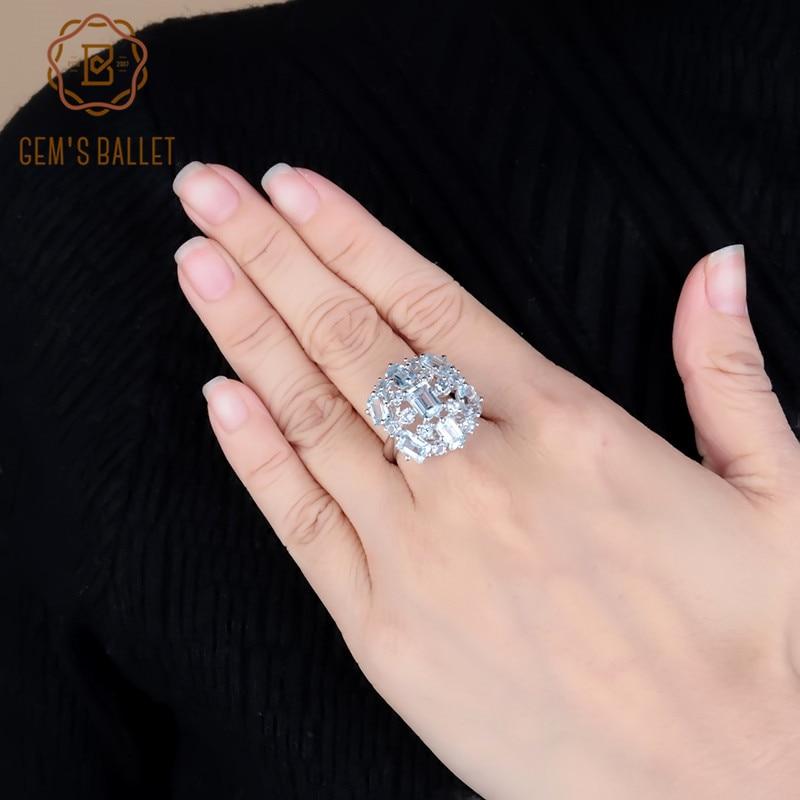 GEM'S BALLET Brand Natural Sky Blue Topaz Gemstone Rings Genuine 925 Sterling Silver Wedding Engagement Jewelry For Women Gift