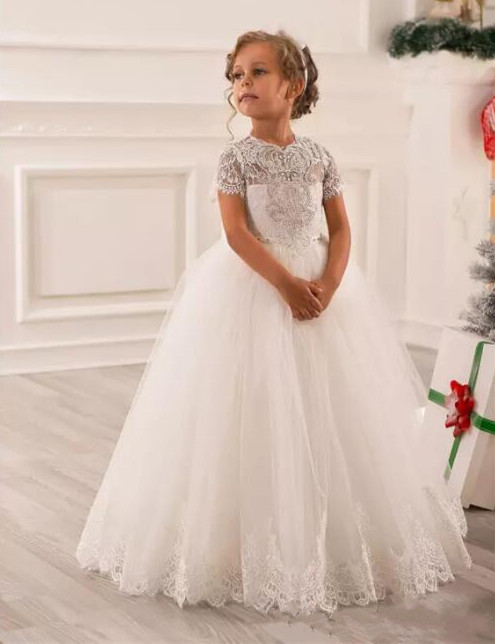 New Beaded Flower Girls Dresses Wedding Party Holiday Bridesmaid Birthday Tulle Lace Ivory First Communion Dress new brand flower girl dresses ivory real party pageant communion birthday party girls kids bridesmaid toddler wedding dress d10