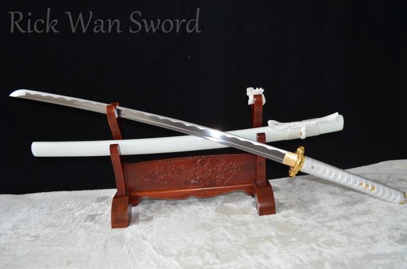 Real Japanese Samurai Sword Katana 100% Handmade 1060 Carbon Steel Full Tang Sharp Blade Dragon Tsuba White Saya Genuine Rayskin