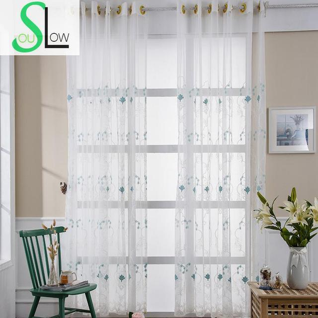 Slow Soul Blue Pastoral Floral Curtains For Living Room Tulle Cortinas Kitchen Bedroom Roman Blinds Kids