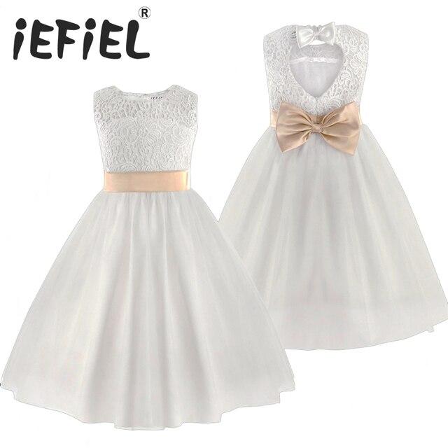 e6adbdec4948c 2019 nouvelles robes de fille de fleur blanc ivoire vraie fête Pageant  Communion robe petites