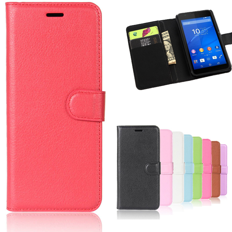 Lichi Skin Wallet Leather Phone Case For Sony Xperia E4G Magnetic Luxury For Xperia E4G Mobile Accessories