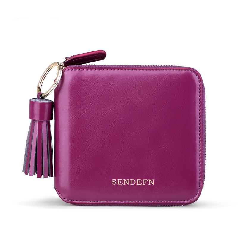 Sendefn Spilt Leather Lady Mini Wallet Women Short Purse Grils Purses Female Wallets Zipper Pocket For /Coin/Card Holder erich krause набор шариковых ручек r 301 neon 0 7 stick&grip 4 шт 42023