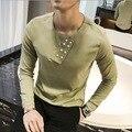 2017 Marca de Estilo Britânico Camisas Dos Homens T de Designer Exclusivo Dos Homens Plain Camiseta Manga Longa Coisas Estranhas T-shirt Dos Homens Camiseta Homme
