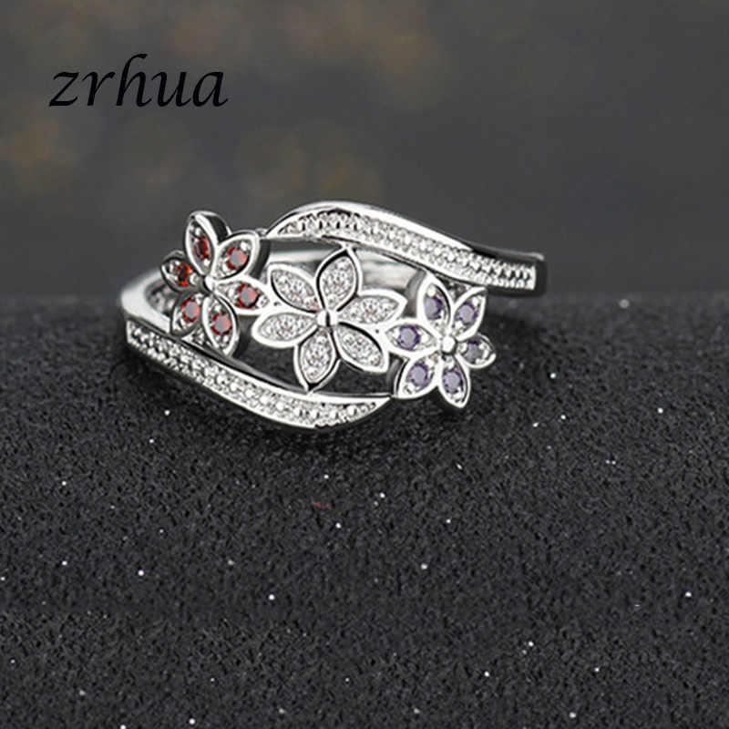 ZRHUA оригинальные кольца из стерлингового серебра 925 пробы, блестящие кольца AAA + Циркон с цветком, Блестящий цветной кристалл для женщин, для девушек, палец, Anillos