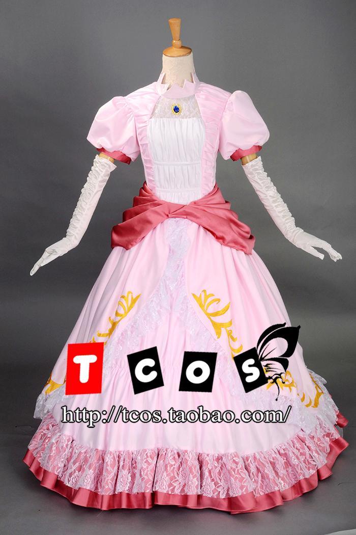 Brdwn Super Mario Women's Cosplay Princess Peach Lolita Rode Evening Dress Costume