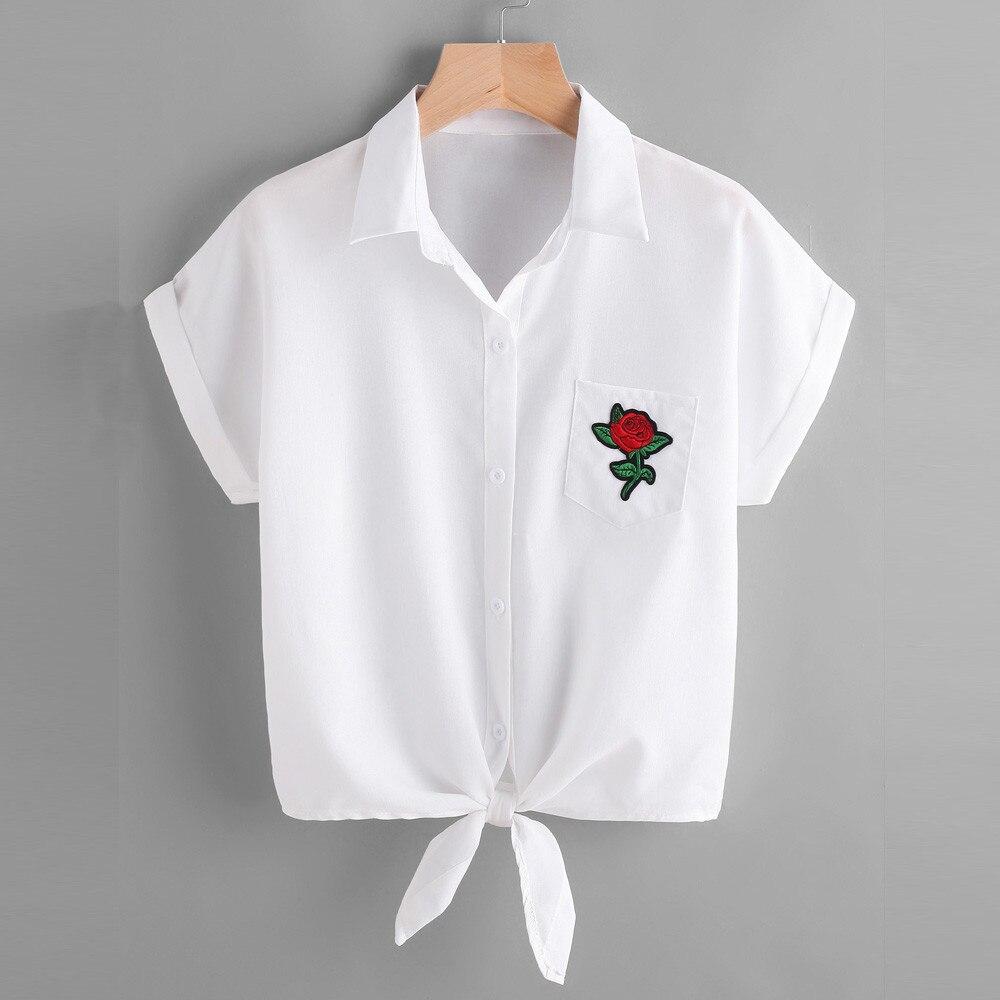 2017 Para Mujer Blusa de Las Señoras Rosa Flor Blusas de Manga Corta Camisa de L