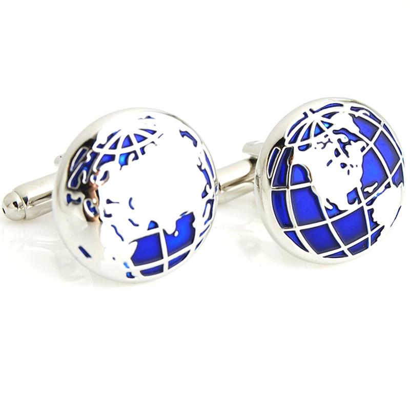 World Map Design Cufflinks Blue Silve Plated Cuff links Men&Women Accessories Vintage Sleeve Button Shirt Globe Gift