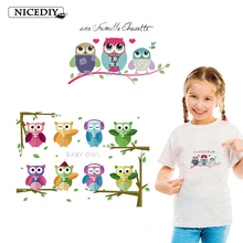 Nicediy Cute Animal Patches Set Iron On Transfer Owl For Girl Kids Clothes DIY Heat Vinyl Stickers Applique