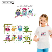 Nicediy Cute Animal Patches Set Iron On Transfer Owl Patches For Girl Kids Clothes DIY Heat Transfer Vinyl Stickers Applique DIY(China)