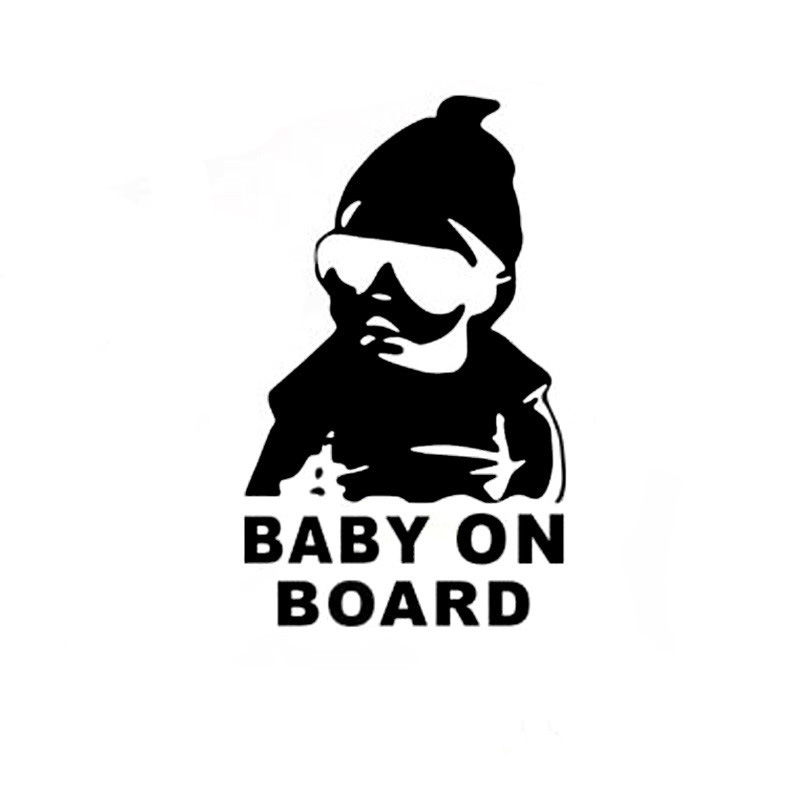 14*9CM BABY ON BOARD Cool Rear Reflective Sunglasses Child Car Stickers Warning Decals Black/Silver CT-465