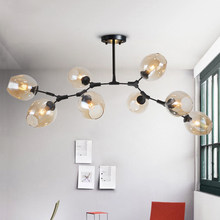 New Modern Led Chandelier Bubble Glass Shade Art Deco Pendant Chandelier Ceiling Indoor Lighting DIY Iron Branching Chandeliers(China)