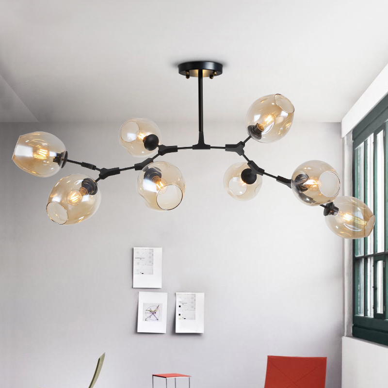 Nouveau Moderne Led Lustre Bulle Abat-Jour En Verre Art Déco Pendentif Lustre Plafond Éclairage Intérieur DIY Fer Ramification Lustres