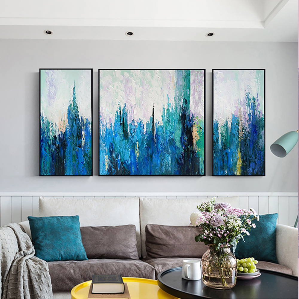 Us 48 97 17 Off Laminas Decorativas Pared Cuadros Abstract Painting Wall Painting For Living Room Large Pintura Acrylic Blue Oil On Canvas Art In
