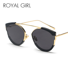 ROYAL GIRL Round Sunglasses Women New Brand Designer Flat Top Sun Glasses Female High Quality Metal Frame Oculos UV400 SS317 все цены