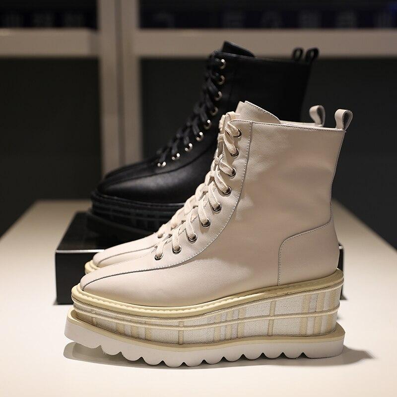 Cuero Mujer Plataforma Con Inside Mixto Cuñas Botas Botines Plush Zapatos Color Cuadrados plush Inside De Cordones 2018 qXSqt8dw