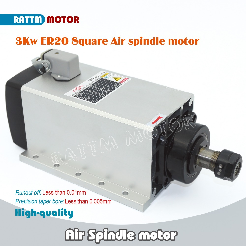 EU Delivery! Square 3kw ER20 Quanlity Air cooled spindle motor runout-off 0.01mm 4 Ceramic bearing,Engraving milling grind CNC 2 2kw air cooled square spindle motor 220v 24000rpm er20 runout off 0 01mm ceramic bearing air cooling spindle for cnc milling