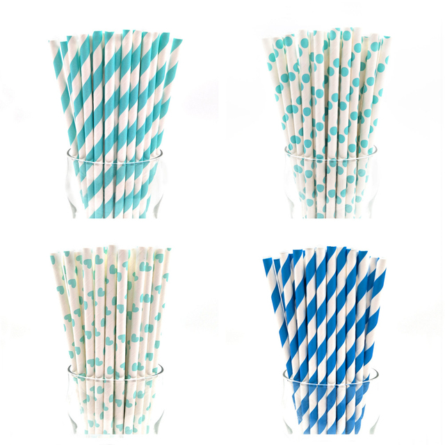 25pcs Straw Drinking Paper Straws Baby Shower Boy Decoration For