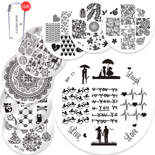 цена на BORN PRETTY 10PCS Love Nail Stamping Plates + FREE Clear Jelly Silicone Nail Stamper Scraper Nail Art Stamp Image Template Set