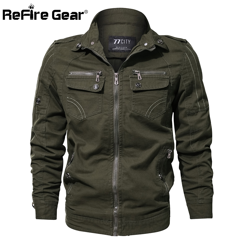 ReFire Gear Men Military Army Jacket Spring Air Force Pilot Cargo Tactical Jacket Man Casual Autumn Cotton Bomber Jackets Coat
