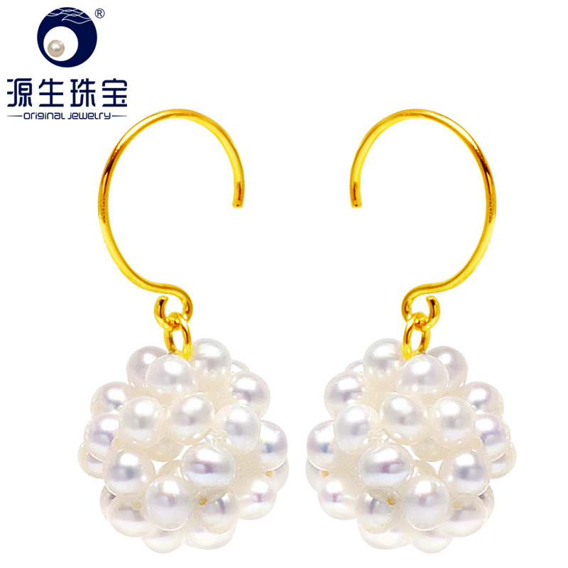 YS Hand-knitted Cute Natural Real Freshwater Pearl S925 Silver Drop Earring Bridal Fine Jewelry For WomenYS Hand-knitted Cute Natural Real Freshwater Pearl S925 Silver Drop Earring Bridal Fine Jewelry For Women