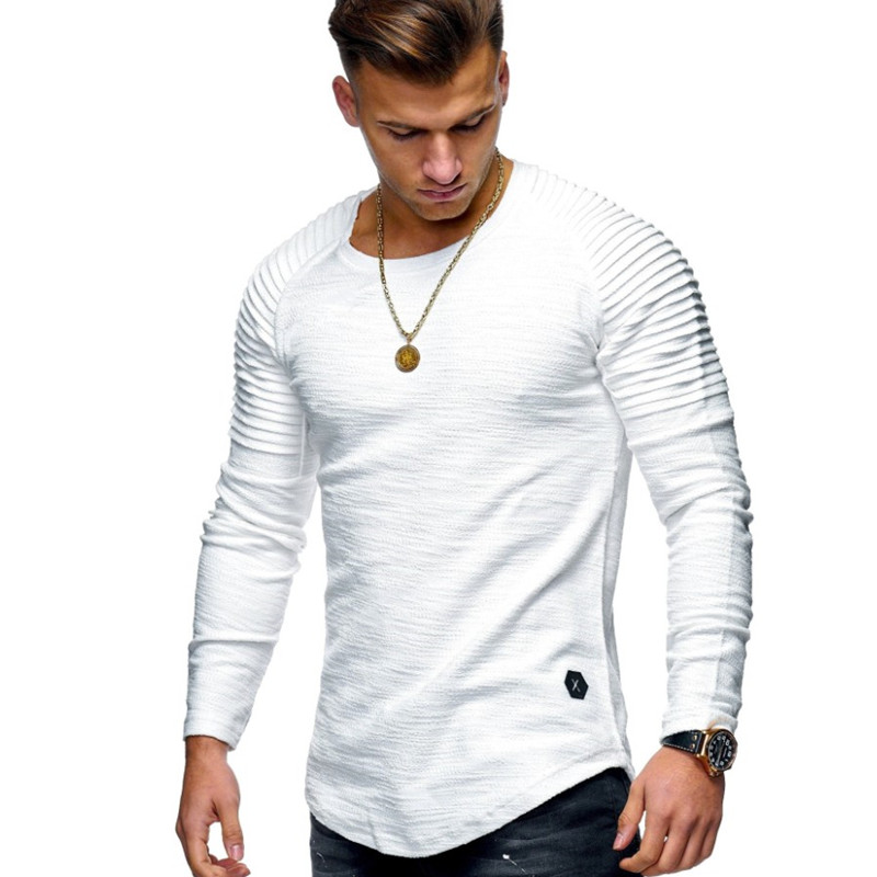 Hot 2019 Solid Color Sleeve Pleated Patch Detail Long Sleeve T-Shirt Men Spring Casual Tops Pullovers Fashion Slim Basic Tops