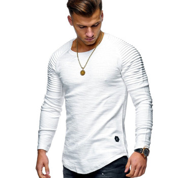 Hot 2020 Solid Color Sleeve Pleated Patch Detail Long Sleeve T-Shirt Men Spring Casual Tops Pullovers Fashion Slim Basic Tops