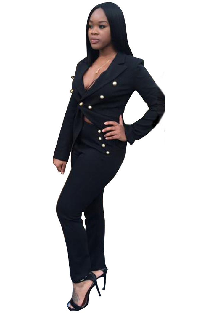Black White Pants Suit Women Business Formal 2 Piece Pant Set Female (6)